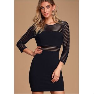 Lulu's Perfect Mesh Black Bodycon Dress Med